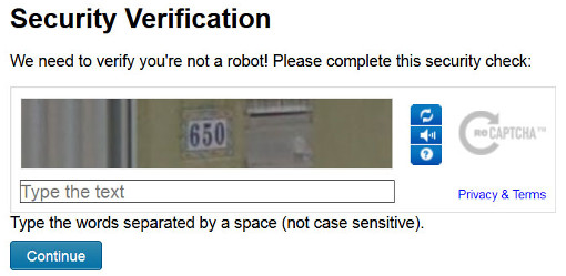 Enter the CAPTCHA value and click the Continue button