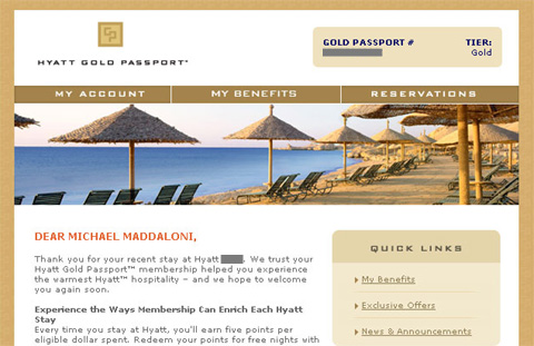 email from Hyatt Gold Passport