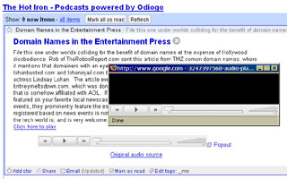 screenshot of Google Reader with popout