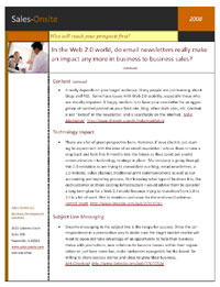 image of Sales-Onsite, LLC white paper on Email Newsletters