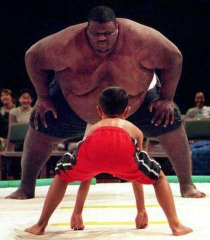 image of large and small sumo wrestlers