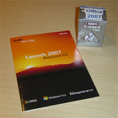 Microsoft Office CD and candy takeaways