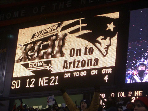 Wordless Wednesday - Scoreboard after Patriots win AFC Championship