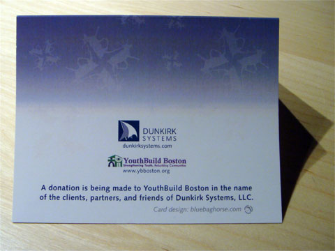 photo of back of Dunkirk Systems, LLC 2008 holiday card