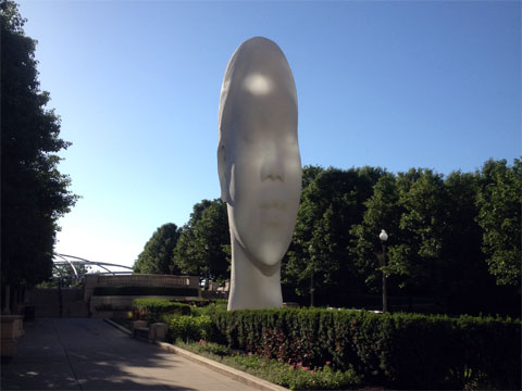 photo of the complete 1,004 Portrait sculpture at Millennium Park, Chicago