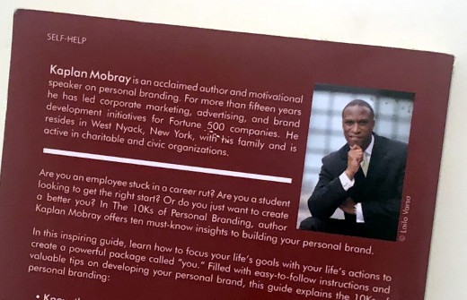 photo of the back cover of The 10Ks of Personal Branding by Kaplan Mobray