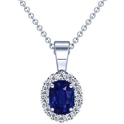 photo of Platinum Cushion Cut Blue Sapphire And Round Diamond Pendant
