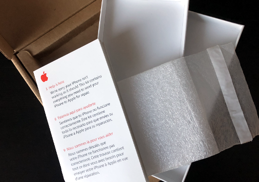 photo of Apple Care packaging to return an iPhone