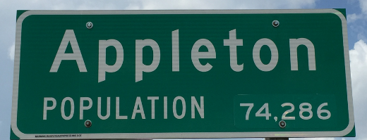 photo of welcome to Appleton Wisconsin sign