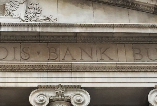 photo of Continental Illinois Bank Building sign in Chicago