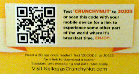photo of QR code on back of Kellogg's Crunchy Nut cereal box