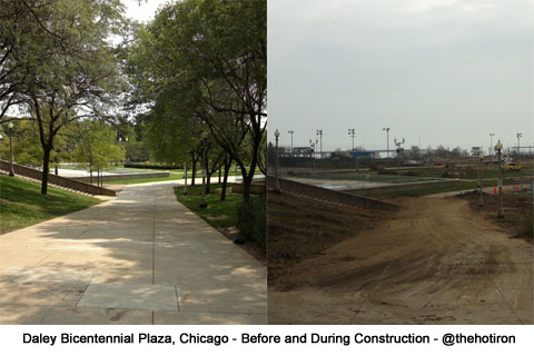 photo of before and after ar Daley Bicentennial Plaza