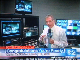 photo of digital TV test on CBS2 Chicago