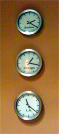 photo of clocks in Dunkirk Systems, LLC office
