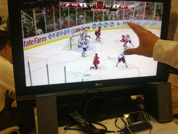 photo of NHL Gamecenter on an HDTV from a Nokia E7