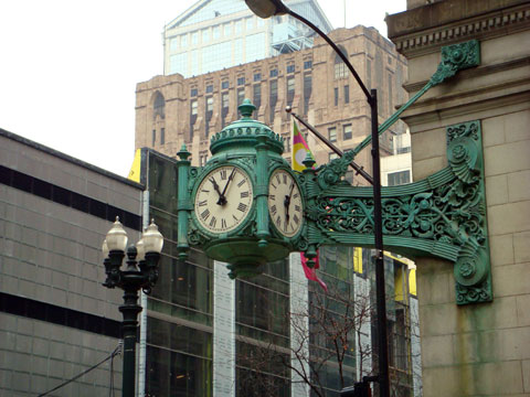 Wordless Wednesday - Marshall Fields Clock Not In Sync Now That Macy's Owns It