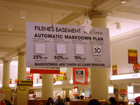 Markdown Sign at Flagship Filene's Basement Store in Boston on Last Day Open