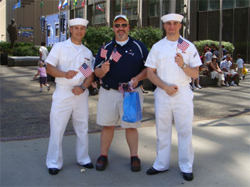 photo of Mike and US Navy sailors on Flag Day