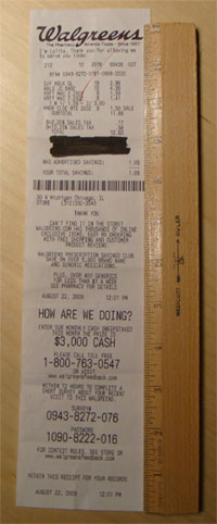 photo of retail receipt over a foot long