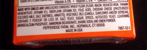 photo of Goldfish cracker ingredients
