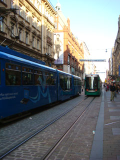 photo of tram cars in Helsinki, Finland