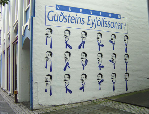 photo of a tie-tying mural in Reykjavik Iceland