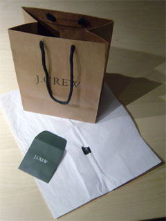 photo of J. Crew shopping bag and packaging