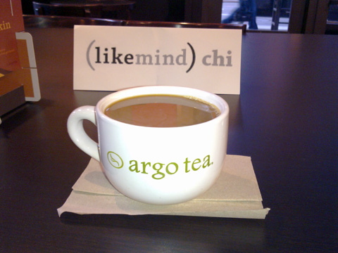 photo of likemind Chicago sign at Argo Tea