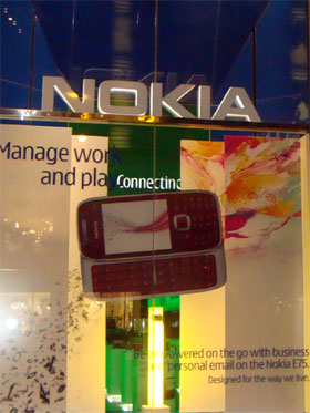 photo of Nokia E75 display at Nokia Flagship Store in Chicago