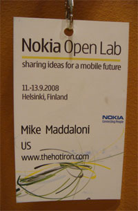 photo of my Nokia OpenLab nametag