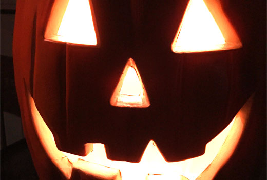 "photo of plastic Halloween Jack-O-Lantern"" title="