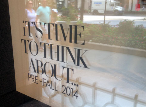 photo of Neiman Marcus window in Chicago promoting pre-fall