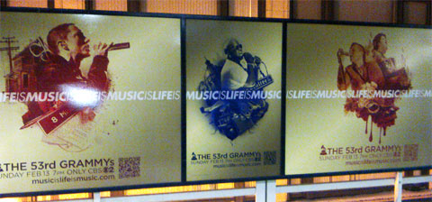 photo of Grammy Awards transit ads in Chicago with QR codes
