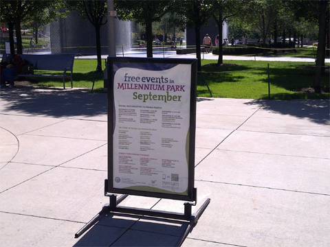 photo of QR code on event sign in Millennium Park, Chicago