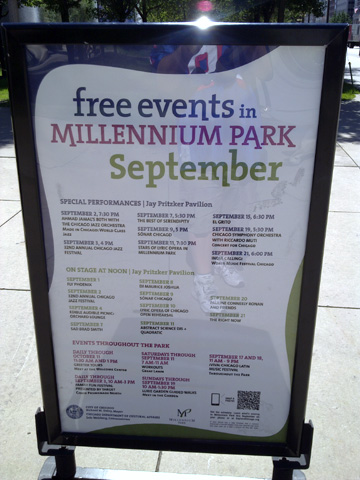 photo of QR code on detailed event sign in Millennium Park, Chicago