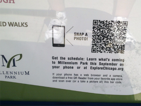 photo of QR code detail on event sign in Millennium Park, Chicago