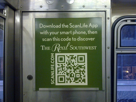 photo of QR codes for Real Southwest campaign on train side