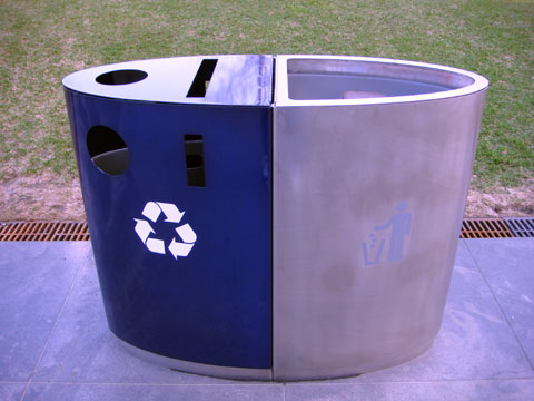 Wordless Wednesday - Combo Recycling and Trash Can at Millennium Park, Chicago