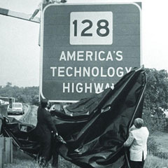 photo of Route 128 America's Technology Highway sign