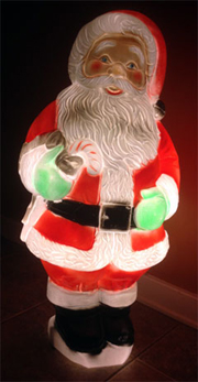 photo of plastic illuminated Santa Claus