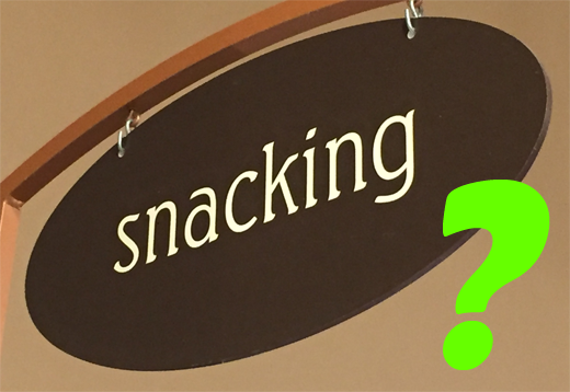 photo of Snacking sign with a question mark