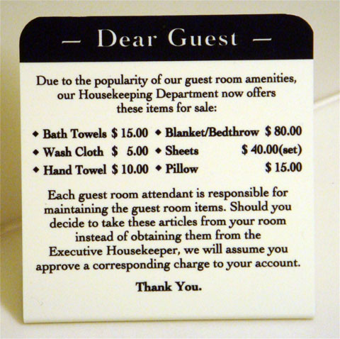 photo of hotel towel pricing sign