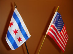 US and Chicago flags