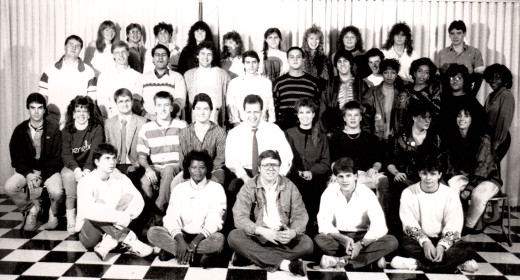 photo of WNEK-FM station members in 1988 – Mike is in the middle of the second row in the tie