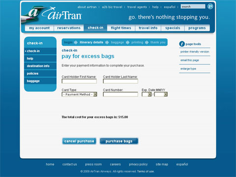 screenshot of AirTran Excess Bags Web page