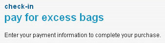 screenshot of AirTran Excess Bags Web page title