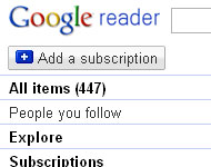 Google Reader count screen shot