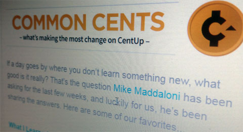 screenshot of the CentUp newsletter