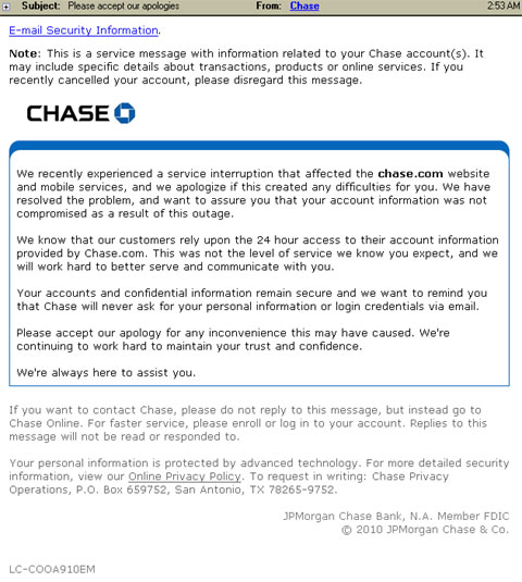 screenshot of email from Chase Bank on online outage