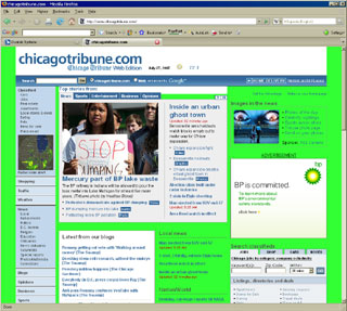 screen shot of Chicago Tribune Web site
